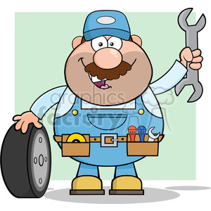 8554 Royalty Free RF Clipart Illustration Smiling Mechanic Cartoon Character With Tire And Huge Wrench Vector Illustration With Background clipart. Royalty-free image # 396525