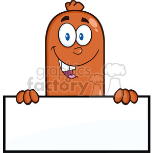 8478 Royalty Free RF Clipart Illustration Smiling Sausage Cartoon Character Over A Blank Sign Vector Illustration Isolated On White clipart. Commercial use image # 396537