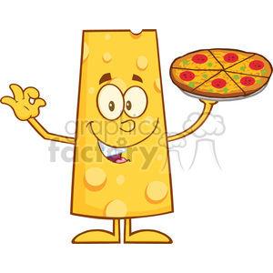 8503 Royalty Free RF Clipart Illustration Happy Cheese Cartoon Character Holding A Pizza Vector Illustration Isolated On White clipart. Commercial use image # 396545