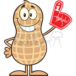 8642 Royalty Free RF Clipart Illustration Smiling Peanut Cartoon Character Wearing A Foam Finger Vector Illustration Isolated On White clipart. Royalty-free image # 396563