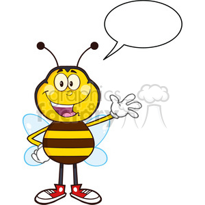 8374 Royalty Free RF Clipart Illustration Happy Bee Cartoon Mascot Character Waving Vector Illustration Isolated On White With Speech Bubble