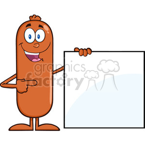 8488 Royalty Free RF Clipart Illustration Sausage Cartoon Character Pointing To A Blank Sign Vector Illustration Isolated On White clipart. Royalty-free image # 396575
