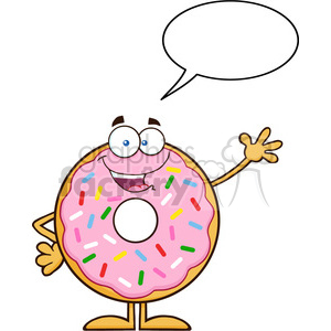 8667 Royalty Free RF Clipart Illustration Cute Donut Cartoon Character With Sprinkles Waving Vector Illustration Isolated On White With Speech Bubble clipart. Commercial use image # 396583