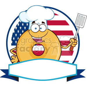 8653 Royalty Free RF Clipart Illustration Chef Donut Cartoon Character Over A Circle Blank Banner In Front Of Flag Of USA Vector Illustration Isolated On White clipart. Commercial use image # 396585
