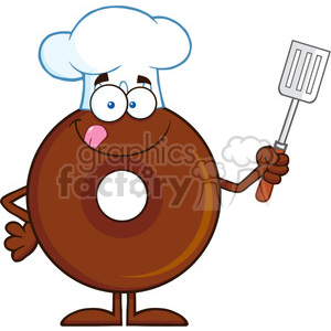 8710 Royalty Free RF Clipart Illustration Chocolate Chef Donut Cartoon Character Holding A Slotted Spatula Vector Illustration Isolated On White clipart. Commercial use image # 396599