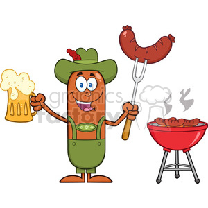 German Oktoberfest Sausage Cartoon Character Holding A Beer And Weenie Next To BBQ Vector Illustration clipart. Royalty-free image # 396611
