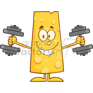 8504 Royalty Free RF Clipart Illustration Smiling Cheese Cartoon Character Training With Dumbbells Vector Illustration Isolated On White clipart. Royalty-free image # 396627