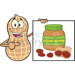 8734 Royalty Free RF Clipart Illustration Peanut Cartoon Character Showing A Banner With Peanut Butter Jar Vector Illustration Isolated On White clipart. Royalty-free image # 396655