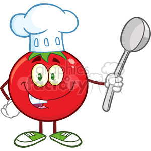 8388 Royalty Free RF Clipart Illustration Tomato Chef Cartoon Mascot Character Holding A Spoon Vector Illustration Isolated On White clipart. Commercial use image # 396663