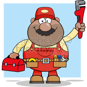 8538 Royalty Free RF Clipart Illustration African American Mechanic Cartoon Character With Wrench And Tool Box Vector Illustration With Background