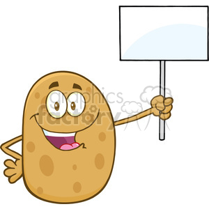 8790 Royalty Free RF Clipart Illustration Happy Potato Cartoon Character Holding Up A Blank Sign Vector Illustration Isolated On White clipart. Royalty-free image # 396711