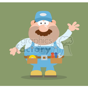 8529 Royalty Free RF Clipart Illustration Mechanic Cartoon Character Waving For Greeting Flat Style Vector Illustration With Background clipart. Commercial use image # 396713