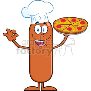 8482 Royalty Free RF Clipart Illustration Chef Sausage Cartoon Character Holding A Pizza Vector Illustration Isolated On White clipart. Commercial use image # 396715