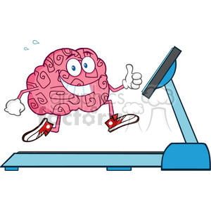 8806 Royalty Free RF Clipart Illustration Healthy Brain Cartoon Character Running On A Treadmill And Giving A Thumb Up Vector Illustration Isolated On White