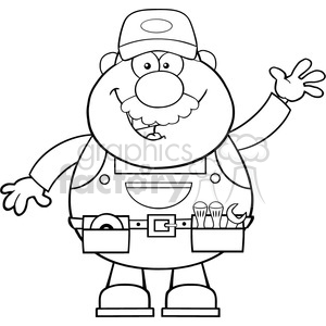 8521 Royalty Free RF Clipart Illustration Black And White Smiling Mechanic Cartoon Character Waving For Greeting Vector Illustration Isolated On White