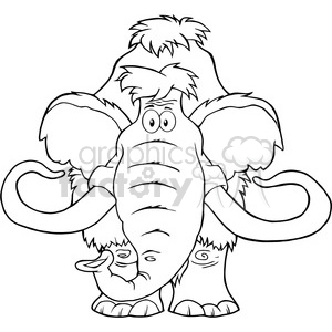 8749 Royalty Free RF Clipart Illustration Black And White Mammoth Cartoon Character Vector Illustration Isolated On White clipart. Commercial use image # 396789