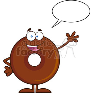 8707 Royalty Free RF Clipart Illustration Cute Chocolate Donut Cartoon Character Waving Vector Illustration Isolated On White With Speech Bubble clipart. Commercial use image # 396801