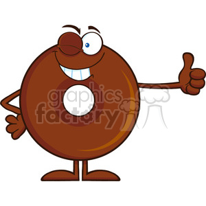 8715 Royalty Free RF Clipart Illustration Winking Chocolate Donut Cartoon Character Giving A Thumb Up Vector Illustration Isolated On White clipart. Commercial use image # 396815