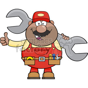 8546 Royalty Free RF Clipart Illustration African American Mechanic Cartoon Character Holding Huge Wrench And Giving A Thumb Up Vector Illustration Isolated On White clipart. Royalty-free image # 396833