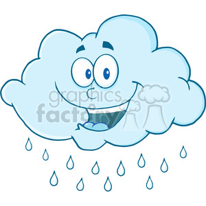 Royalty Free RF Clipart Illustration Happy Cloud Raining Cartoon Mascot Character clipart. Royalty-free image # 396873
