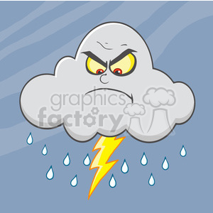 7029 Royalty Free RF Clipart Illustration Angry Cloud With Lightning And Rain