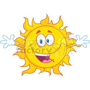 Royalty Free RF Clipart Illustration Happy Sun With Welcoming Open Arms clipart. Royalty-free image # 396903