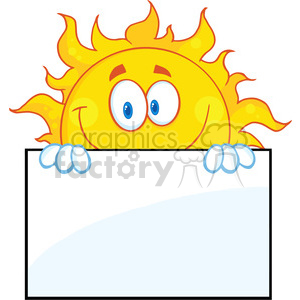 7042 royalty free rf clipart illustration smiling sun cartoon mascot character over a sign board