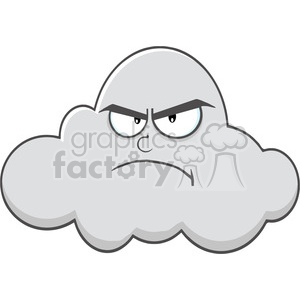 Royalty Free RF Clipart Illustration Angry Cloud Cartoon Mascot Character