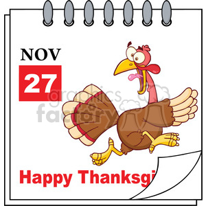 Royalty Free RF Clipart Illustration Cartoon Calendar Page With Cartoon Turkey Escape And Happy Thanksgiving Greeting clipart. Commercial use image # 396939