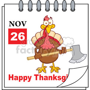 8972 Royalty Free RF Clipart Illustration Cartoon Calendar Page Turkey With Axe Vector Illustration clipart. Royalty-free image # 396951