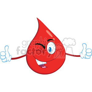Royalty Free RF Clipart Illustration Smiling Red Blood Drop Cartoon Mascot Character Giving A Double Thumbs Up clipart. Royalty-free image # 396969