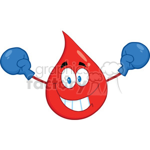 Royalty Free RF Clipart Illustration Smiling Red Blood Drop Cartoon Mascot Character With Boxing Gloves clipart. Royalty-free image # 396979