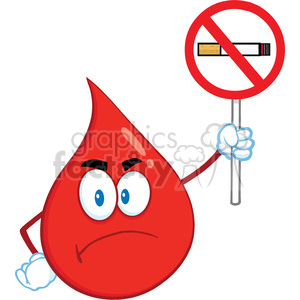 Royalty Free RF Clipart Illustration Angry Red Blood Drop Cartoon Mascot Character Holding up A No Smoking Sign clipart. Commercial use image # 396989