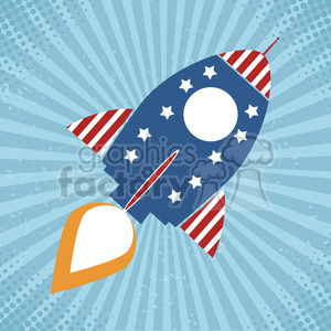 8317 Royalty Free RF Clipart Illustration Vintage Retro Rocket With USA Flag Concept Vector Illustration clipart. Royalty-free image # 397009