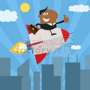 8344 Royalty Free RF Clipart Illustration African American Manager Flying Over City And Giving Thumb Up Flat Style Vector Illustration clipart. Royalty-free image # 397019