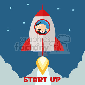 8332 Royalty Free RF Clipart Illustration Manager Launching A Rocket To The Sky And Giving Thumb Up Flat Style Vector Illustration clipart. Royalty-free image # 397029