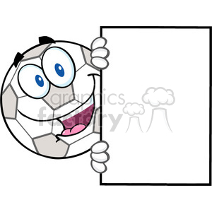 Royalty Free RF Clipart Illustration Happy Soccer Ball Cartoon Character Looking Around A Blank Sign clipart. Royalty-free image # 397049