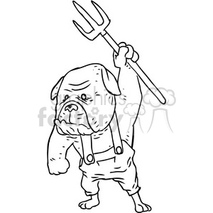 farmer bulldog vector RF clip art images clipart. Royalty-free image # 397088