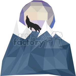Wolf and Moon geometry geometric polygon vector graphics RF clip art images clipart. Royalty-free image # 397332