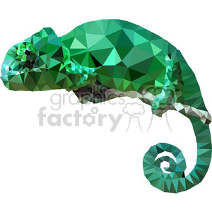 geometry polygons lizard chameleon green branch animal triangle+art