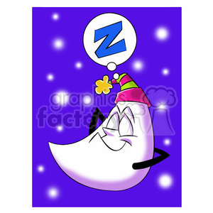 rocky the cartoon moon character sleeping clipart. Royalty-free image # 397422