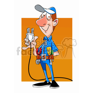 felix the cartoon handy man character holding a plug clipart. Commercial use image # 397472