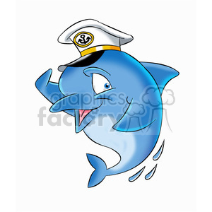 dallas the cartoon dolphin wearing a captain hat clipart. Commercial use image # 397492