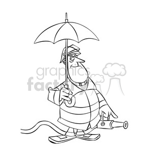 frank the cartoon firefighter holding an umbrella black white clipart. Royalty-free image # 397522