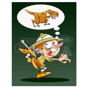 leo the cartoon safari character running from trex clipart. Royalty-free image # 397572