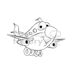 commercial airline vector image happy skyler black white clipart. Royalty-free image # 397592