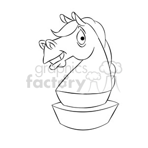 cartoon chess piece character knight black white clipart. Royalty-free image # 397612