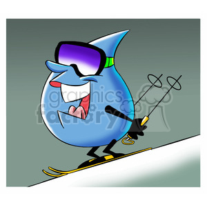 aqua the cartoon water drop skiing clipart. Commercial use image # 397622