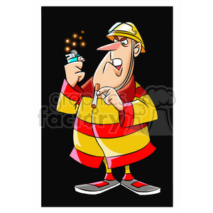 frank the cartoon firefighter trying to smoke clipart. Royalty-free image # 397672