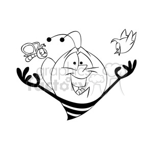 bee bees insects bob character mascot cartoon black+white